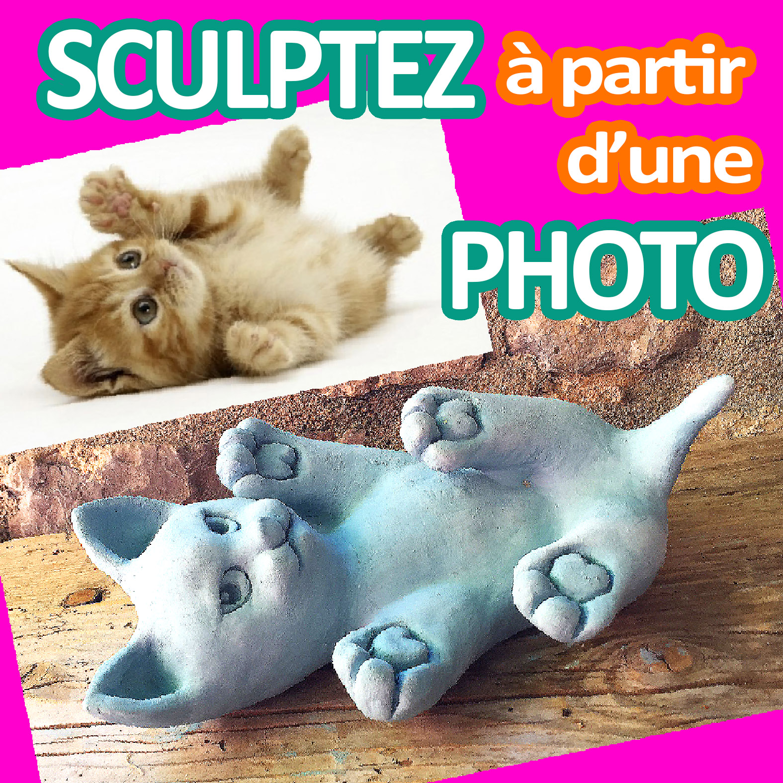Sculptez un petit chat trop mignon en argile sans cuisson à partir d'une photo [TUTO en VIDEO]